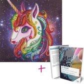 Diamond Painting Kinderen Unicorn 25x25cm - Rond - Partial - Eenhoorn - Starterspakket - Kinderen - Kids - Met E-book - Art Diamond®