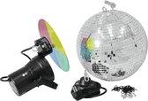 EUROLITE Discobal set  met motor en pin spot - Spiegelbol - Discobol 30cm