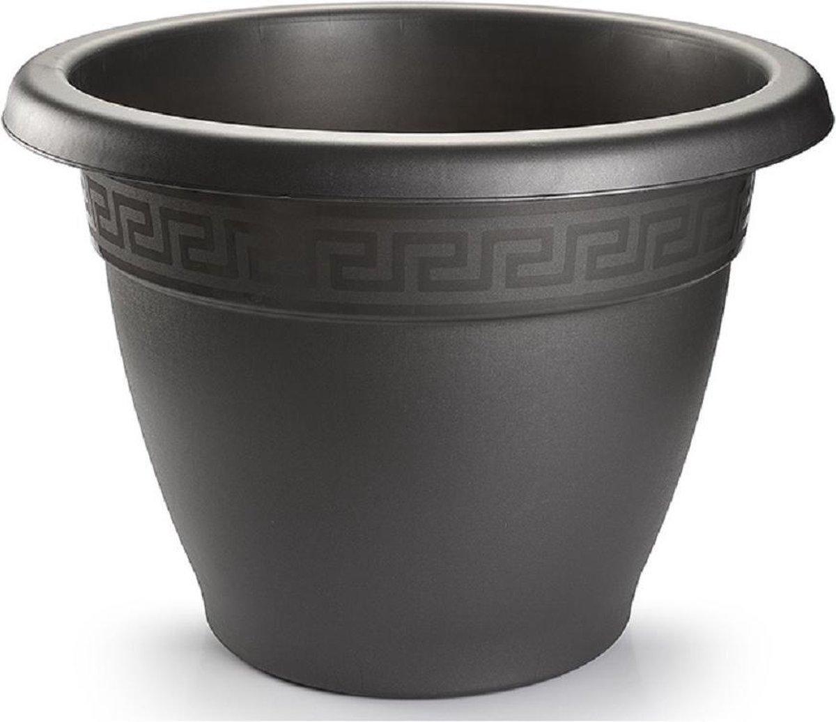 2x Antraciete plantenbakken/bloempotten 25 cm - Woon/tuinaccessoires/decoratie - Ronde bloempotten/plantenpotten voor binnen/buiten