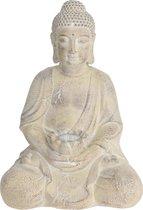 1x Boeddha tuinbeeld creme met solar verlichting op zonne-energie 44 cm - Tuindecoratie/accessoires - Tuinbeelden met licht