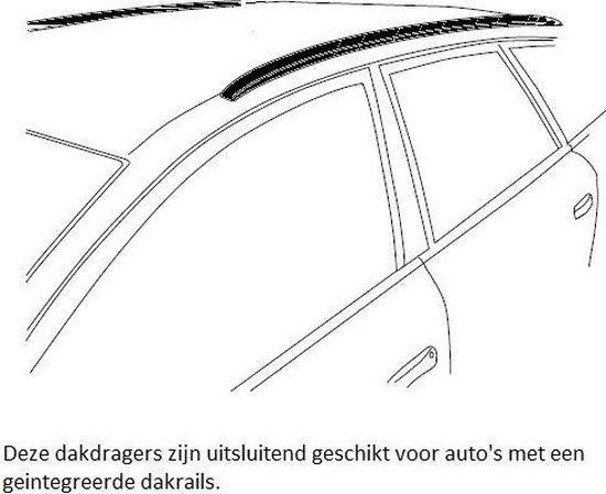 Modula dakdragers Dacia Duster 5 deurs SUV vanaf 2016 met geintegreerde dakrails