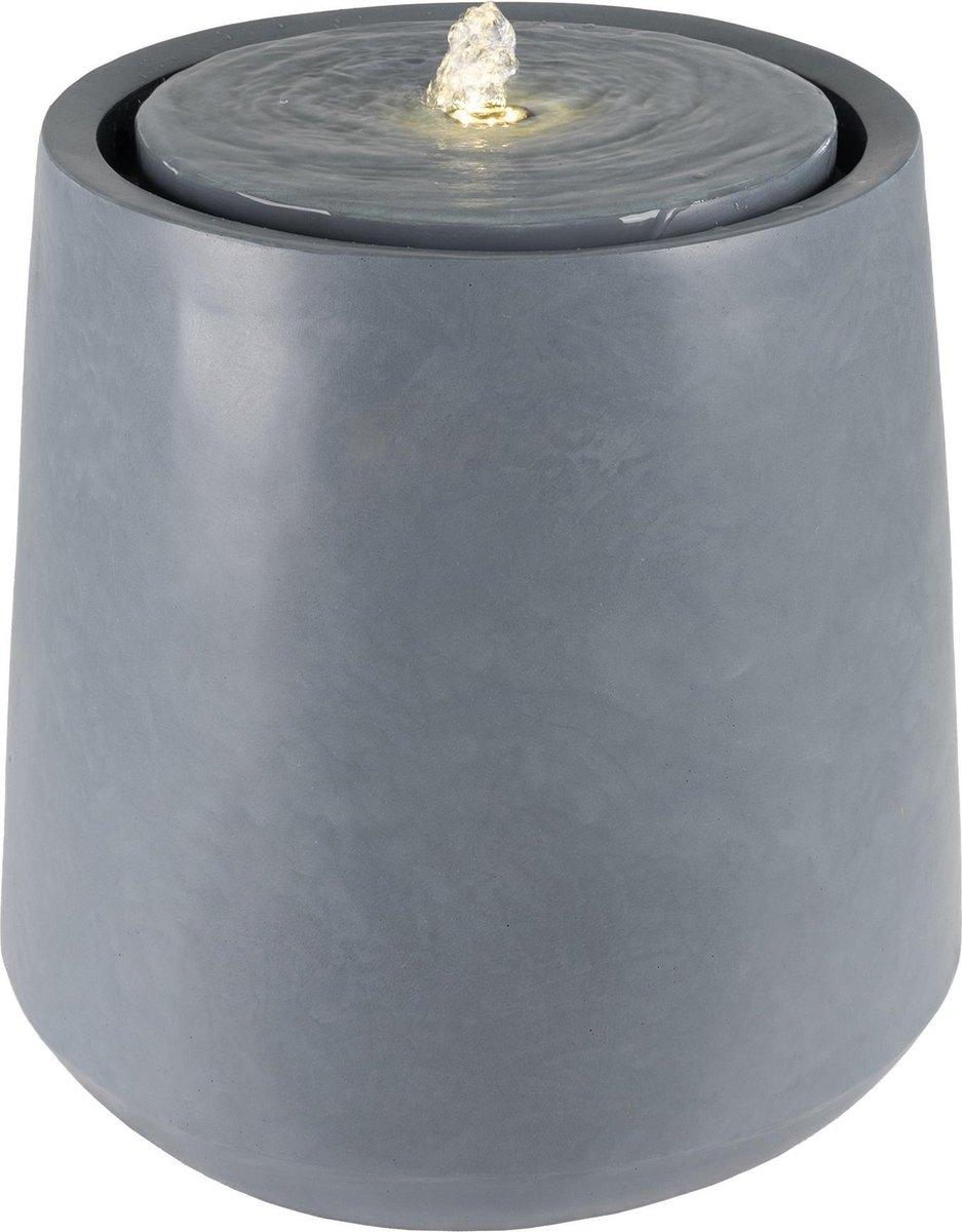 WOMO-DESIGN fontein grijs, met LED-verlichting en pomp in steenoptiek, Ø 40x40 cm, gemaakt van kunststof