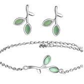 Set- Zilver- Armband met Oorbellen- Groen Blaadje- Charme Bijoux
