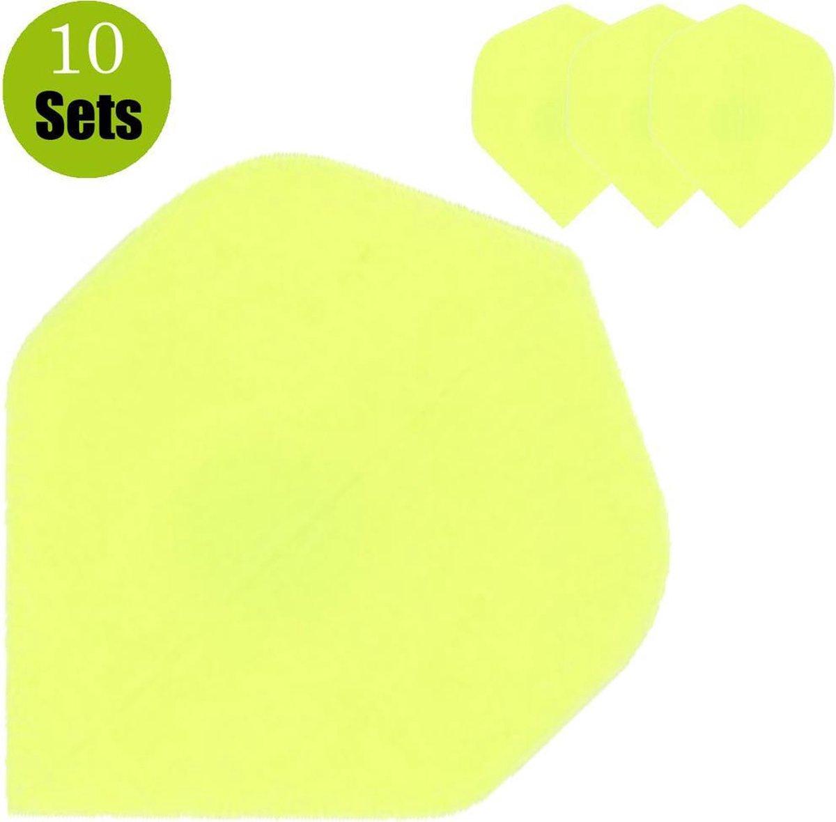 Poly Plain Dartflights - Fluor Geel- (10 Sets)