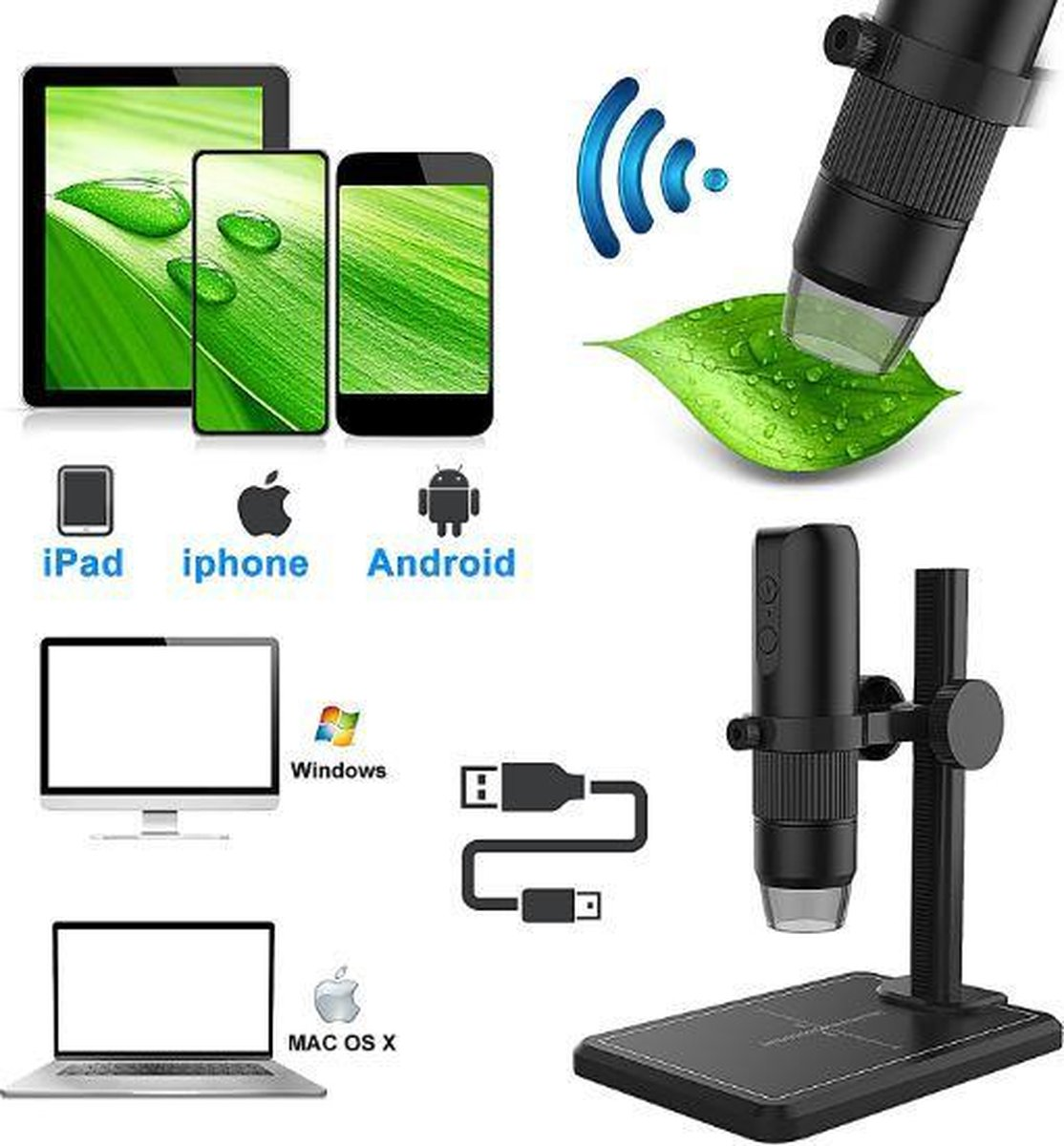 Wifi Microscoop draadloos 50x1000 foto en video voor android 5 IOS en Mac os 10.5 of hoger