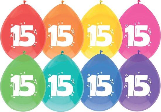 leeftijd ballonnen - 15 jaar - 8 x diverse kleuren