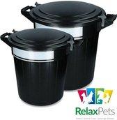 RelaxPets - Voerton - Voer Bewaar Box - Feed Bucket - Schrijflabel - Lock Sluiting - Inclusief Deksel - Zwart - 40 & 80 Liter - 40L 46x44.5cm - 80L 55x55.5cm - 2 Verschillende maten
