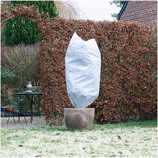 Plantenhoes tegen vorst met aantrekkoord wit 1,5 meter x 100 cm 50 g/m2 - Winterafdekhoes - Winterhoes voor planten - Anti-vorst beschermhoes planten - Vorstbescherming - Planthoes