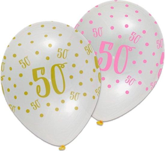 Ballonnen - Pink chic - 50 Jaar - 6st.