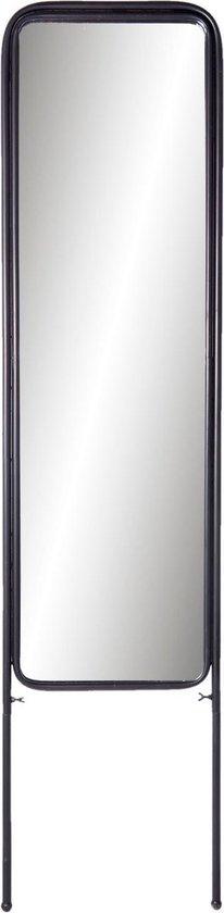Clayre & Eef Staande Spiegel 52S125 44*3*180 cm - Zwart Ijzer PasspiegelGrote Spiegel
