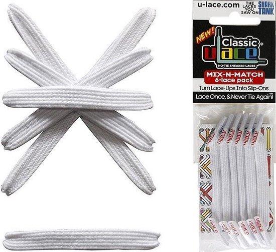 Ulace elastieke veters wit voor sneakers met 6 gaatjes