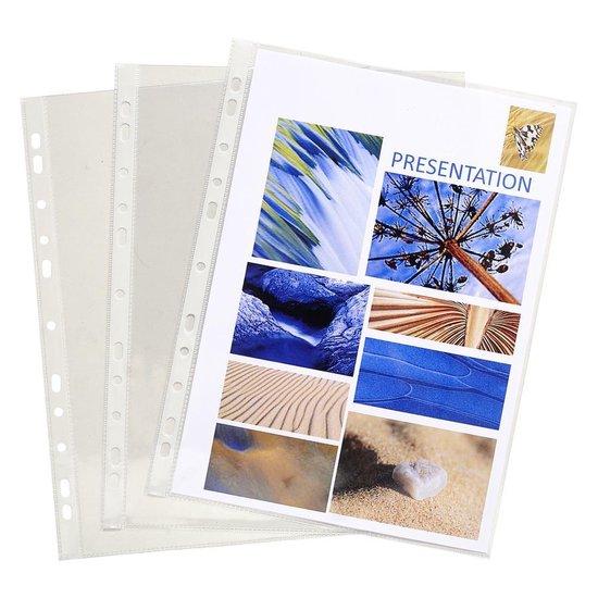 10x Pak van 10 geperforeerde showtassen - gladde PVC - A4, Transparant