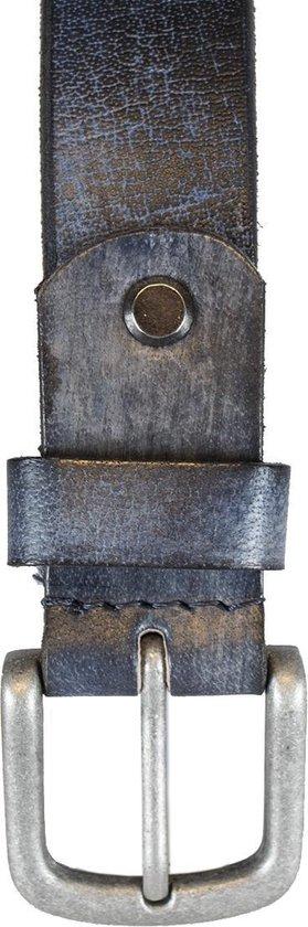 Leren Riem Jeansblauw Van 3 cm Breed - Dames Riem Of Heren Riem - Maat 125 (Taille tot 110 cm)