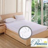 Comfortabele Zachte Molton Hoeslaken - Katoen-Stretch- Rondom Elastiek - Lits-Jumeaux- 200x200+40cm-Wit - Voor Boxspring-Waterbed