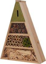 Lichtgroen insectenhotel 19 cm driehoek - Hotel/huisje voor insecten - Bijenhuis/vlinderhuis