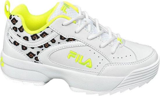 bol.com | Fila Kinderen Witte sneaker neon panterprint - Maat 34
