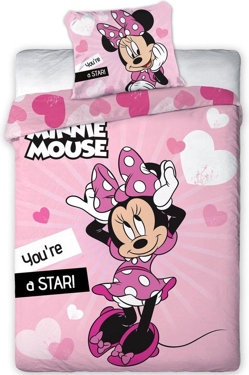 Disney Minnie Mouse Dekbedovertrek Star  - Eenpersoons - 140  x 200 cm - Roze kopen
