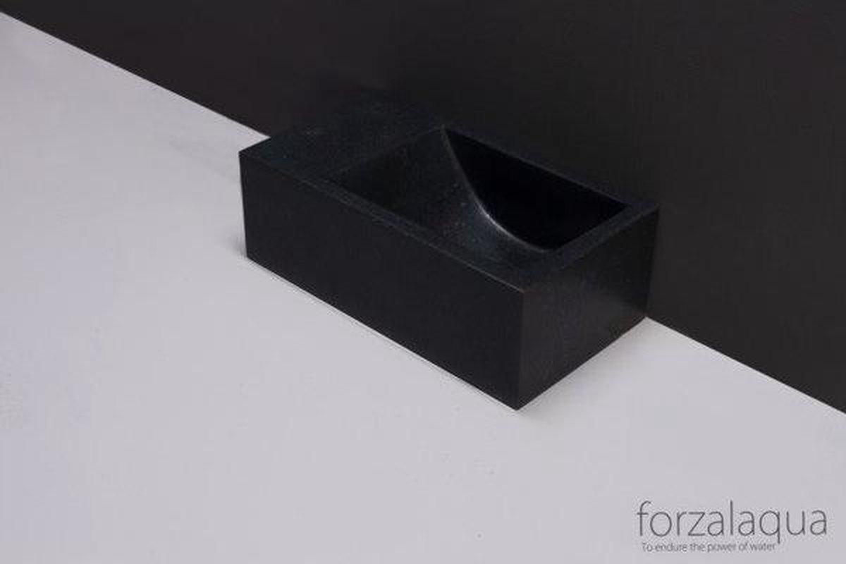 Forzalaqua Venetia Xs fontein 29x16x10cm 1 kraangat links rechthoek graniet gezoet antraciet