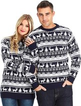 "Foute Kersttrui Dames & Heren - Christmas Sweater - ""Modern Blauw & Wit"" - Kerst trui Mannen & Vrouwen Maat XL"