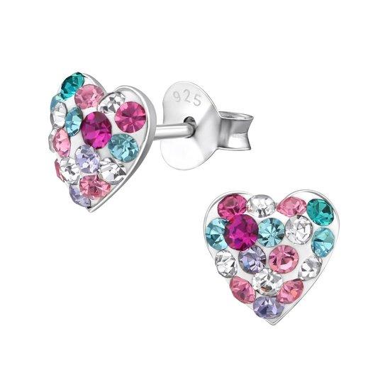 Oorbellen meisje | Kinderoorbellen meisje zilver | Zilveren oorstekers, hart met kleurige kristallen | WeLoveSilver