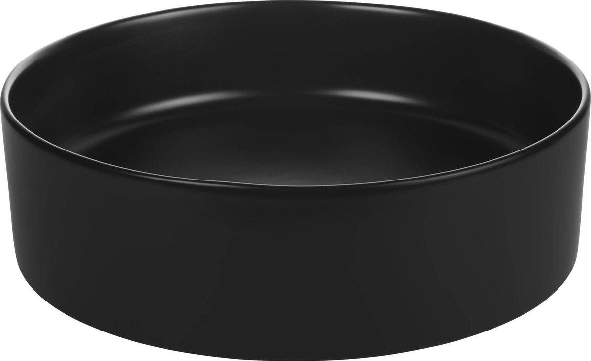 Saqu Sink Waskom Keramiek Rond 40x14,5 cm Glans Zwart