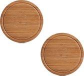 2x Ronde bamboe houten snijplanken met sapgroef 25 cm - Zeller - Keukenbenodigdheden - Kookbenodigdheden - Snijplanken/serveerplanken - Houten broodplanken - Snijplanken van hout