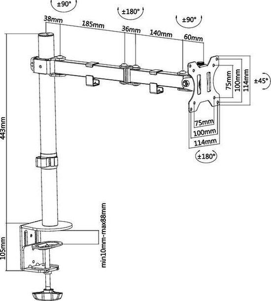 """FPMA-D550BLACK monitorarm - t/m 32"""" - Zwart"""