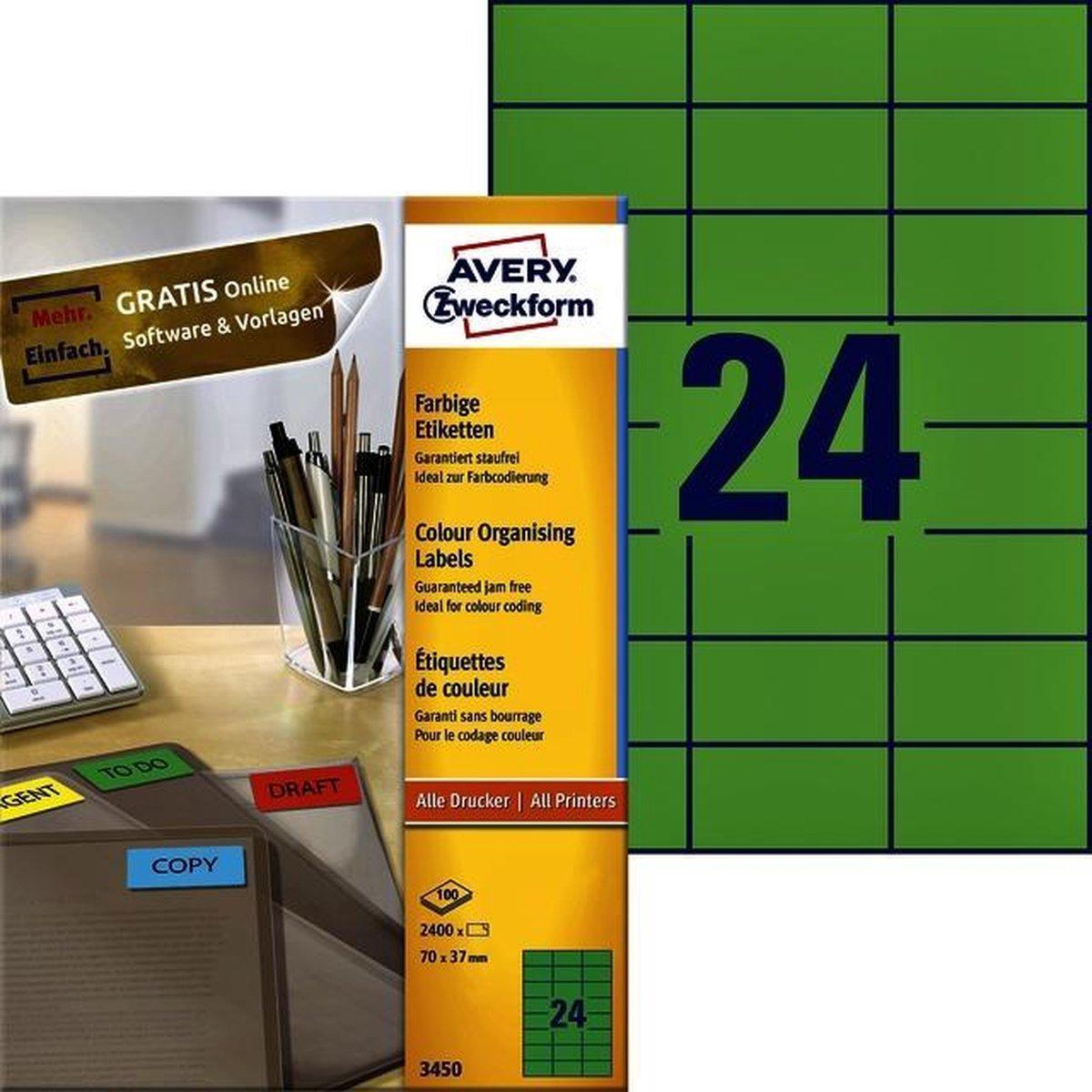 Avery Gekleurde universele etiketten formaat 70 x 37 mm (b x h) 2.400 stuks groen