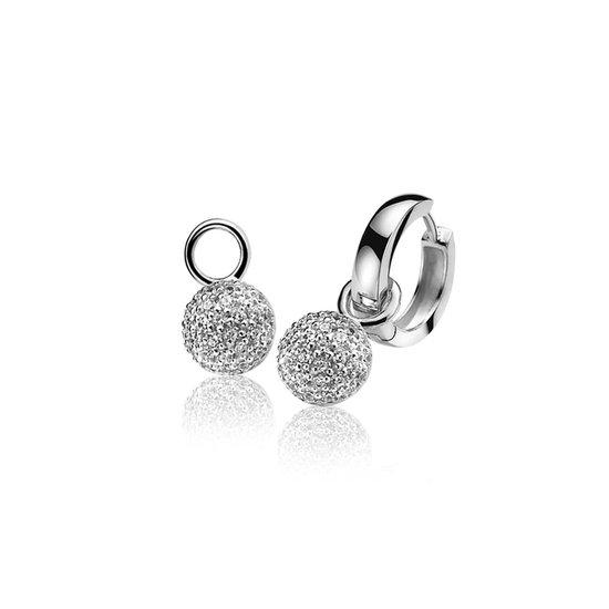 ZINZI zilveren oorbedels wit ZICH915