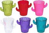 18x Gekleurde cactus shotglaasjes 60 ml kunststof/plastic - herbruikbaar - borrelglazen/shotglazen