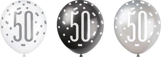 Ballonnen 50 Jaar Stippen Zwart 30cm 6st