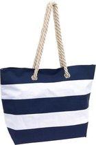 Strandtas gestreept blauw/wit 47 cm - Strandartikelen beach bags/shoppers met klittenbandsluiting