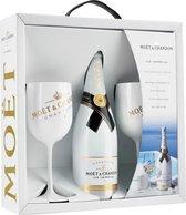 Champagne Moet Chandon Ice Imperial - 1 x 75 cl + 2 glazen - Geschenkdoos