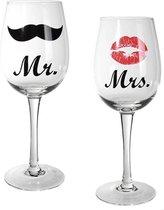 Mr & Mrs Wijnglazen - Wijnglas - 430 ML - 2 Stuks