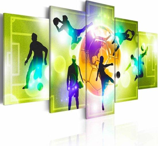Schilderij - Midden in het spel - Voetbal , 5 luik