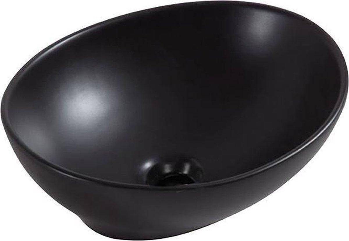 Wiesbaden Barco opzetwastafel 400x330x145 mat zwart