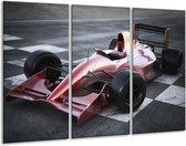 Schilderij | Canvas Schilderij Auto, Formule 1 | Grijs, Roze, Rood | 120x80cm 3Luik | Foto print op Canvas