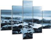 Glas schilderij Zee, Strand | Blauw | 100x70cm 5Luik | Foto print op Glas |  F006414