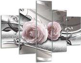 Glas schilderij Bloemen, Modern | Grijs, Roze | 100x70cm 5Luik | Foto print op Glas |  F007376