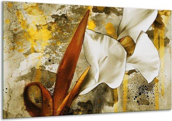 Glasschilderij Bloem | Wit, Bruin, Geel | 120x70cm 1Luik | Foto print op Glas |  F003168