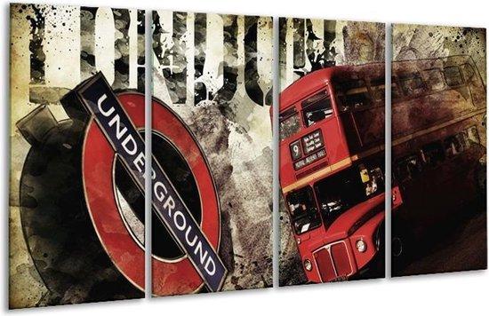 Glasschilderij Londen | Rood, Zwart, Grijs | 160x80cm 4Luik | Foto print op Glas |  F003311