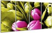 Glasschilderij Tulp | Roze, Groen, Wit | 160x80cm 4Luik | Foto print op Glas |  F003728