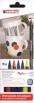 edding Porseleinstiften - 6 basiskleuren porseleinstiften - Flexibele, penseelvormige punt