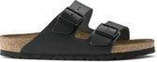Birkenstock Arizona Slippers Zwart Leer Narrow-fit - maat 50