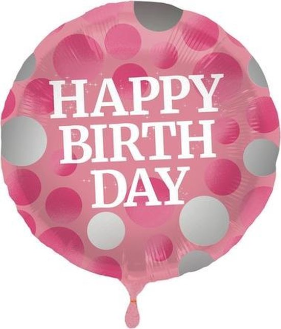Folie cadeau sturen helium gevulde ballon Gefeliciteerd/Happy Birthday roze met stippen 45 cm - Folieballon verjaardag versturen/verzenden