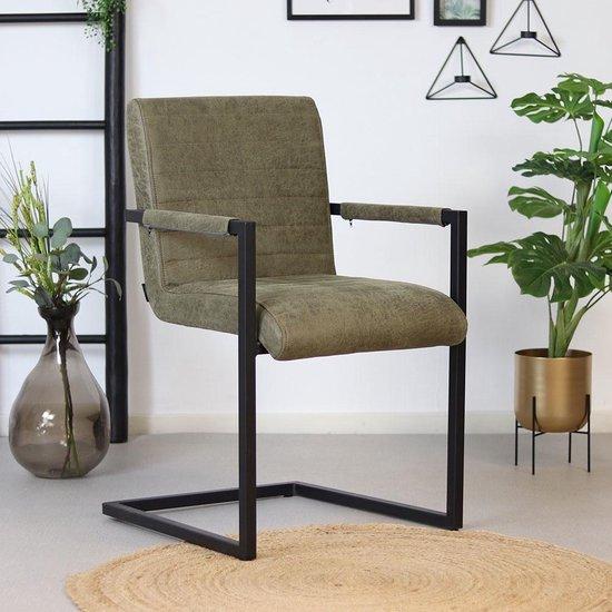 Bronx71® Eetkamerstoel olijfgroen Block - Eetkamerstoelen met armleuningen - Industrieel - Eco leer stoel - Waterafstotend - Eetkamerstoel groen
