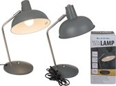 Retro tafellamp/bureaulamp grijs metaal - Schemerlamp 35 cm - E14 - Schemerlampen/bureaulampen