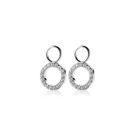ZINZI zilveren oorbedels rond open wit 9mm ZICH1063