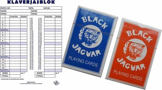 Afbeelding van het spel 1x Scoreblokken Klaverjassen 50 vellen met speelkaarten - Kaartspellen - Familiespelletjes - Klaverjassen score notitieblok