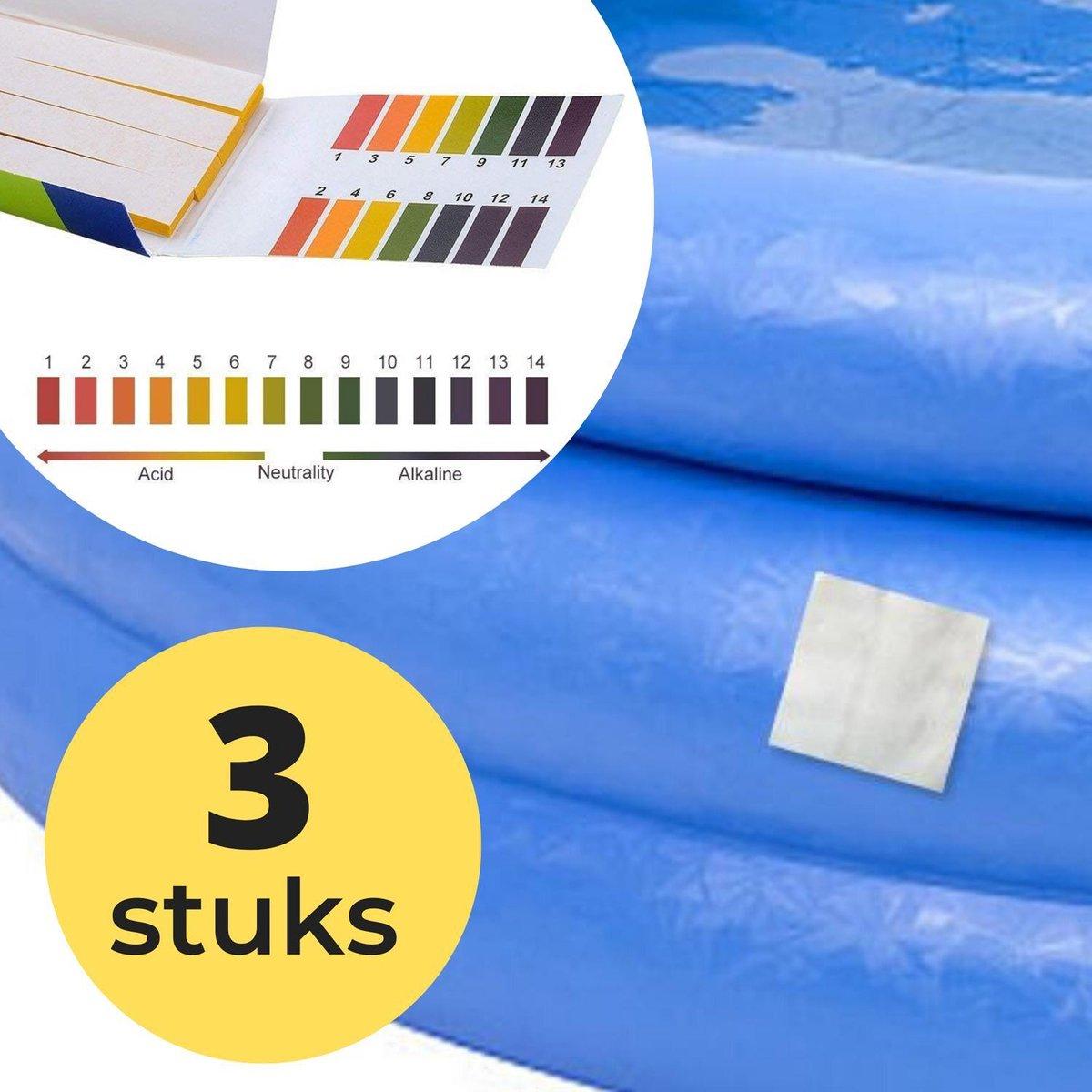 3x Zwembad Onderhoud Reparatie Set - Geschikt voor Opblaasbaar Zwembad en speelgoed met 80 PH meter strips - Pless®
